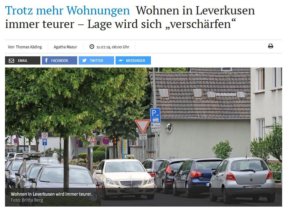 """Trotz mehr Wohnungen Wohnen in Leverkusen immer teurer – Lage wird sich """"verschärfen""""/ KSTA vom 11.07.2019"""