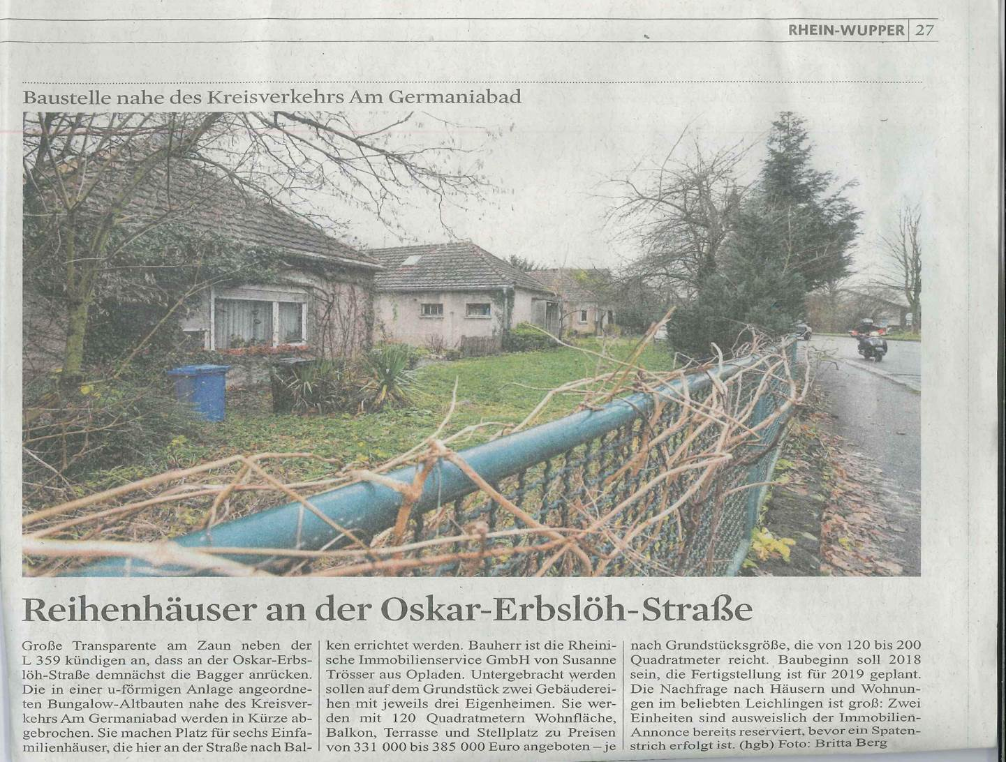 Reihenhäuser an der Oskar-Erbslöh-Straße | KSTA 09.01.2018