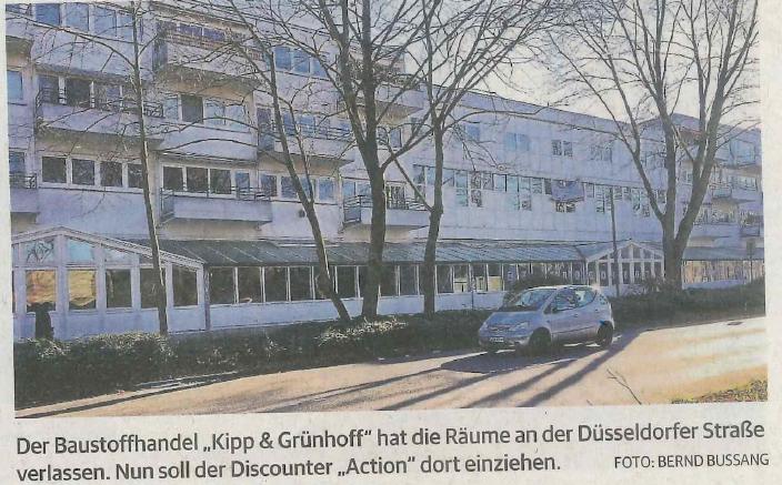 Discounter zieht in verlassenen Baustoffhandel / Rheinische Post 07.02.2018