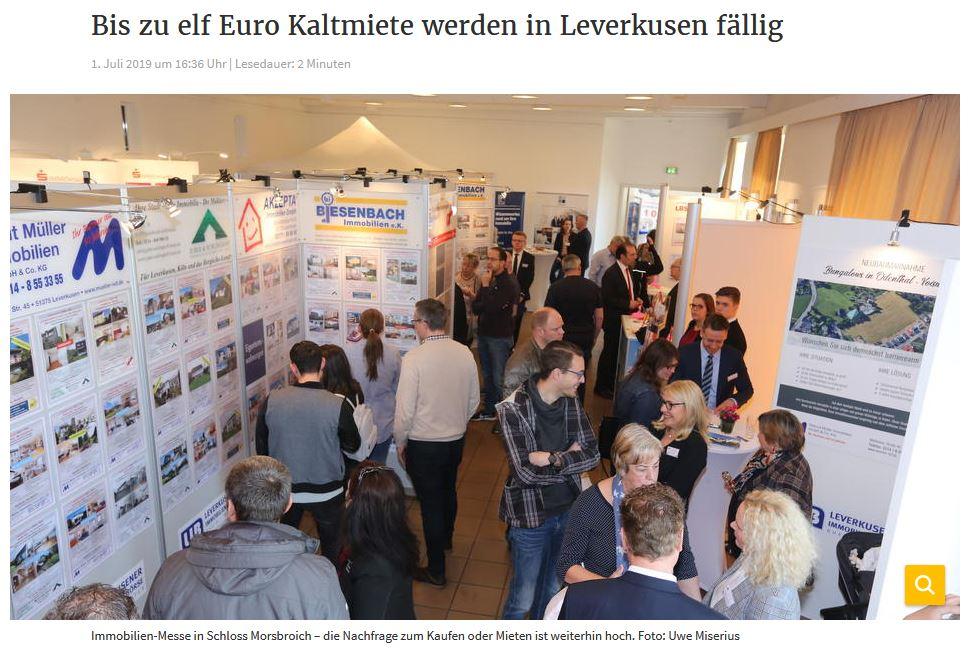 Bis zu elf Euro Kaltmiete werden in Leverkusen fällig / Rheinische Post/ 01.07.2019