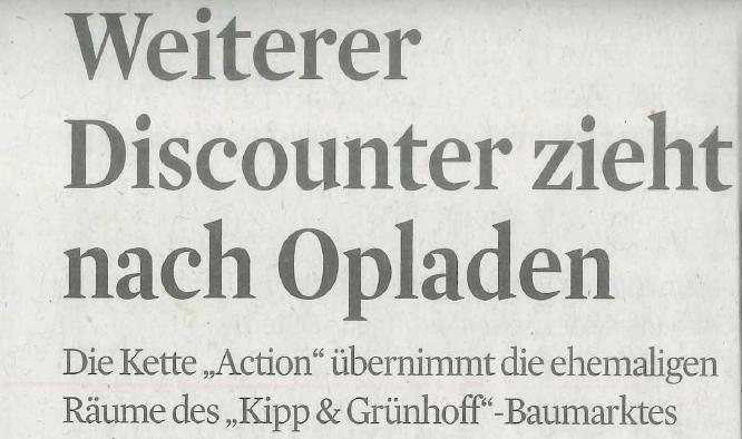 Weiterer Discounter zieht nach Opladen/ KSTA 13.März 2018
