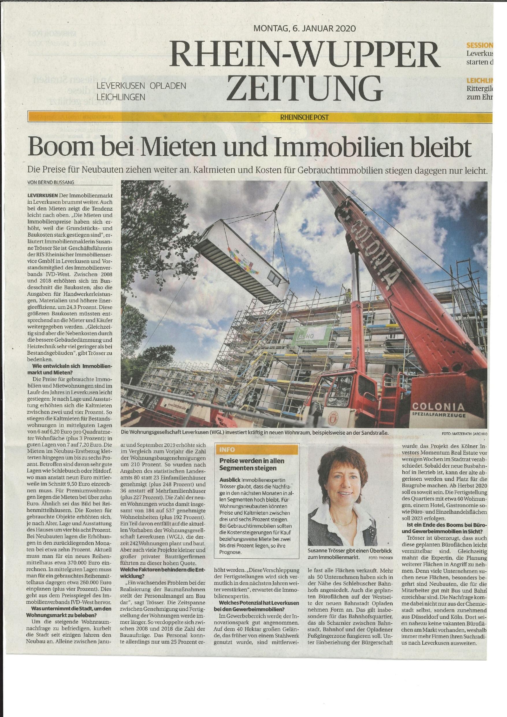 Boom bei Mieten und Immobilien bleibt / Rheinische Post vom 06.01.2020