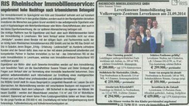 Hohe Nachfrage nach krisensicherem Betongold - ein Beitrag von RIS Rheinischer Immobilienservice GmbH