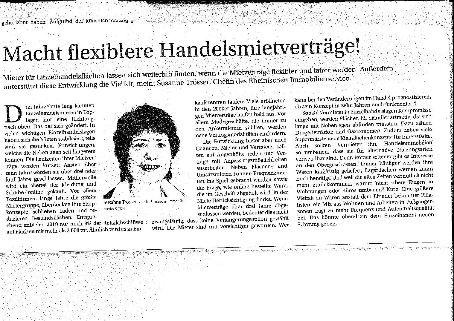 Macht flexiblere Handelsmietverträge! / Immobilien Zeitung vom 14.11.2019